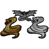 Set of 3 Snake and Dragon Patches