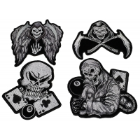 Set of 4 Black and Gray Skull Patches