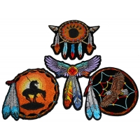 Set of 4 Native American Indian Feather Patches
