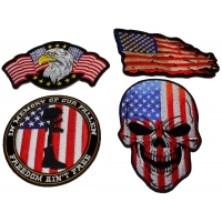Set of 4 Patriotic American Flag Patches