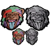 Set of 4 Small and Large Chimpanzee Patches in Gray and Color