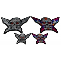 Set of 4 Small and Large Colorful and Silver Robot Skull Patches