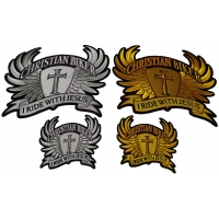 Set of 4 Small and Large, Gold and Silver Christian Biker Patches