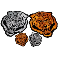 Set of 4 Small and Large Tiger Patches in Orange and White