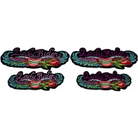 Set of 4 Small and Medium Lady Rider Patches with and without Crystals