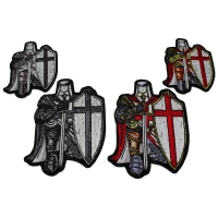 Set of 4 Small and Mini Crusader Knight Kneeling Patches in Red and Gray
