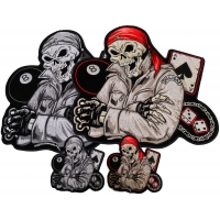 Set of 4 Small Large Color and Gray Biker Skull Patches
