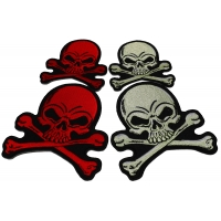 Set of 4 Small Red and Gray Skull Patches