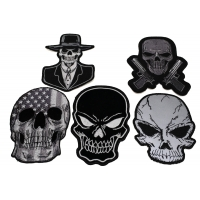 Set of 5 Black Skull Patches
