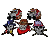 Set of 5 Colorful Embroidered Skull Patches