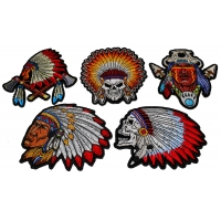 Set of 5 Small Native American Indian Headdress Patches