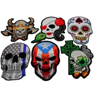 Set of 6 Colorful Embroidered Iron on Skull Patches