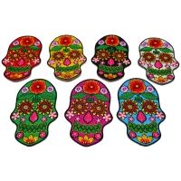Set of 7 Embroidered Flower Skull Patches