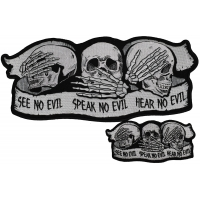 Set of Large and Small See Hear and Speak No Evil Skull Patches