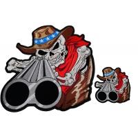 Shotgun Barrel Cowboy Skull 2 Piece Front And Back Patch Set