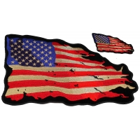 US Flag Vintage Tattered Small And Large Patch Set