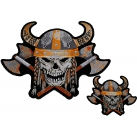 Viking Patch Set Small And Large Skull Axes Horned Helmet