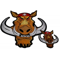 Wild Hog Biker Small And Large Patch Set