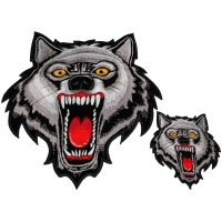 Wild Wolf Two Piece Small And Large Embroidered Patch Set