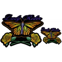 Yellow Butterfly Patches For Lady Riders Small And Large Embroidered