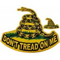 Yellow Snake Don't Tread On Me 2 Piece Small And Large Patch Set