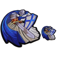 Blue Caped Crusader Knight Templar Small and Large Patch Set