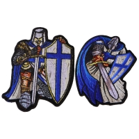 Blue Knights Iron on Patches Set of 2