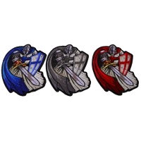 Blue Red and Gray Cape Crusader Knights Templar Small Iron on Patches