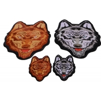 Brown and Gray Wolves Small and Large Iron on Patch Set of 4