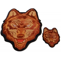 Brown Wolf Small and Large Iron on Patch Set