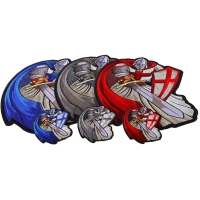 Crusader Knights Templar Patches Mega Set of 3 Large and 3 Small Patches in Red Blue and Silver