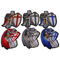 Kneeling and Ready Crusader Knights Templar Small Set of 6 Iron on Patches