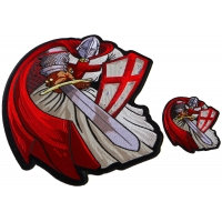 Red Cape Crusader Knight Templar Small and Large Iron on Patch Set