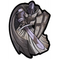 Silver Cape Templar Knight Large Back Patch