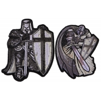 Silver Knights Iron on Patch Set of 2