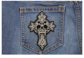 Christian Cross Patches with Skull Designs