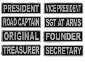 Shop Black and White Officer Rank Biker Club Patches