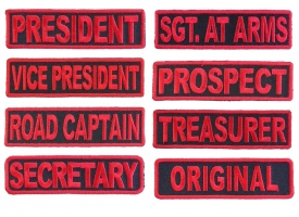 Shop Black and Red MC Officer Rank Biker Patches