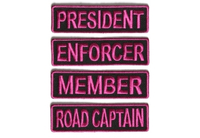 Shop Black and Pink Officer Rank Lady Biker Patches