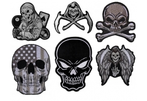Black and White Skull Patches