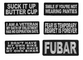 Black and White Saying Patches