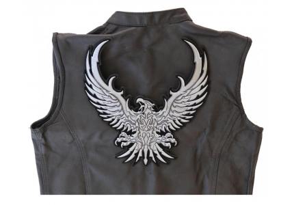 "A23 3782 Biker Vest LEFT SILVER EAGLE WING 4/"" x 8/"" iron on patch"