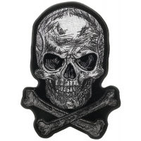 Scratched Skull and Crossbones Large Back Patch