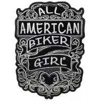 All American Biker Girl Large Ladies Back Patch with Rhinestone Crystals