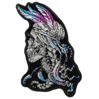 Braided Hair Skull with Purple and Blue Feathers and Rhinestone Crystals Patch