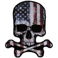 American Flag Vintage Skull and Cross Bones Back Patch