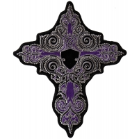 Purple Cross with Crystals Back Patch