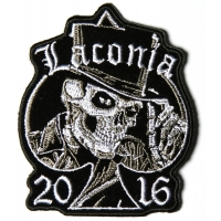 Laconia 2016 Motorcycle Rally Patch Tall Hat Skull