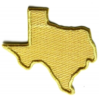 Gold Embroidered Texas Map Iron on Patch