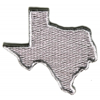 Silver Embroidered Texas Map Iron on Patch